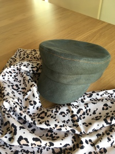 Olive Green Linen Macchiato Cap and Blush Pink Leopard Print Infinity Scarf by The Hatwright